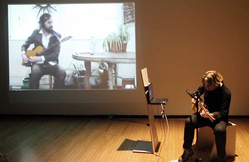 Still from a live performance of Extended Play: TeWhenuaCentroChapineroCorona<br> on January 19th 2014.
