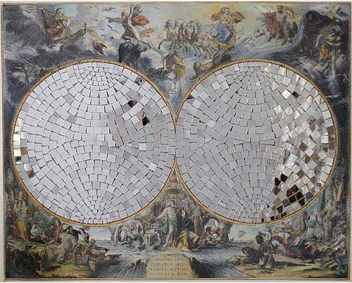 """Mirror Globe (Map Of The World), 2006 Antique World Map, mirror pieces, 22"""" x 28""""."""