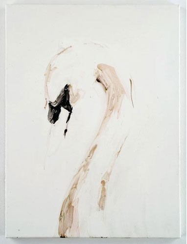 """Naked Swan, 2006 Tar on paper, 22"""" x 28""""."""