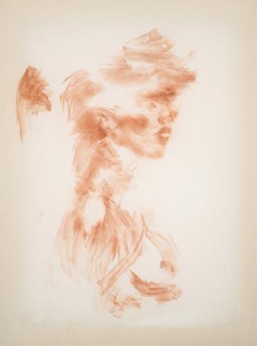 """Rubbing of Me, 2008, conte crayon on muslin, 23""""x27""""."""
